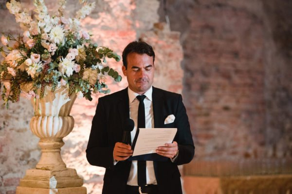 Master of ceremony at a wedding